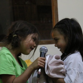 of course the girls were thrilled to use the microphones