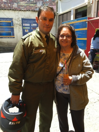 Richard's mom and her nephew who is a policeman in La Paz
