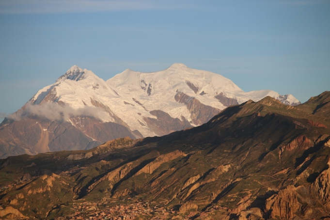 Illimani, the volcano viewable from La Paz